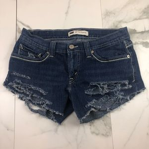 Levi's Dark Wash Low Rise Distressed Shorts 6